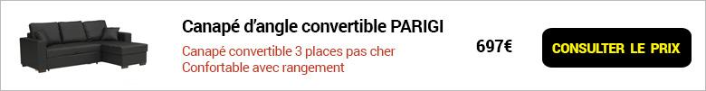 bandeau consulter le prix du canapé d'angle convertible pas cher parigi