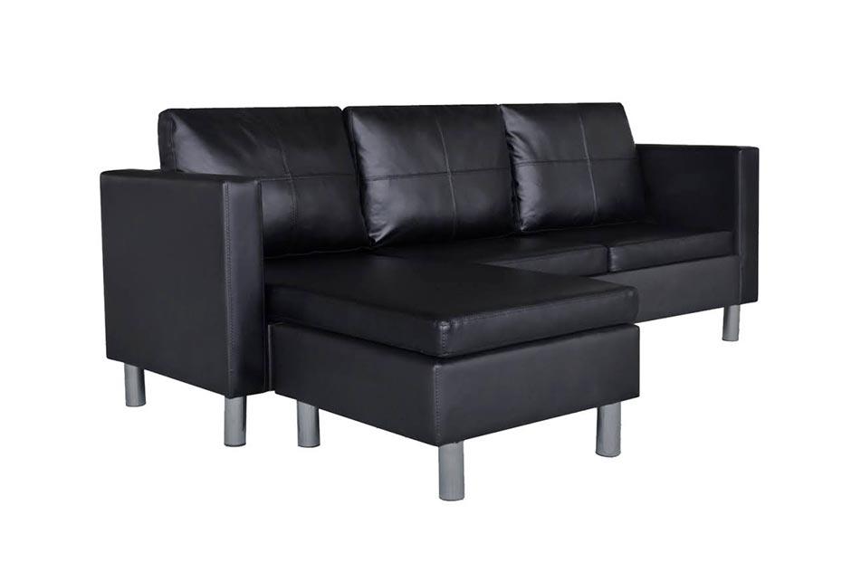 Canapé d'angle 3 places modulable en cuir artificiel noir à moins de 300 €