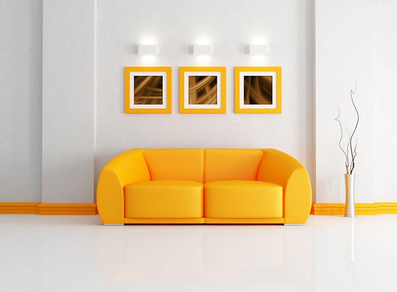canapé jaune vif