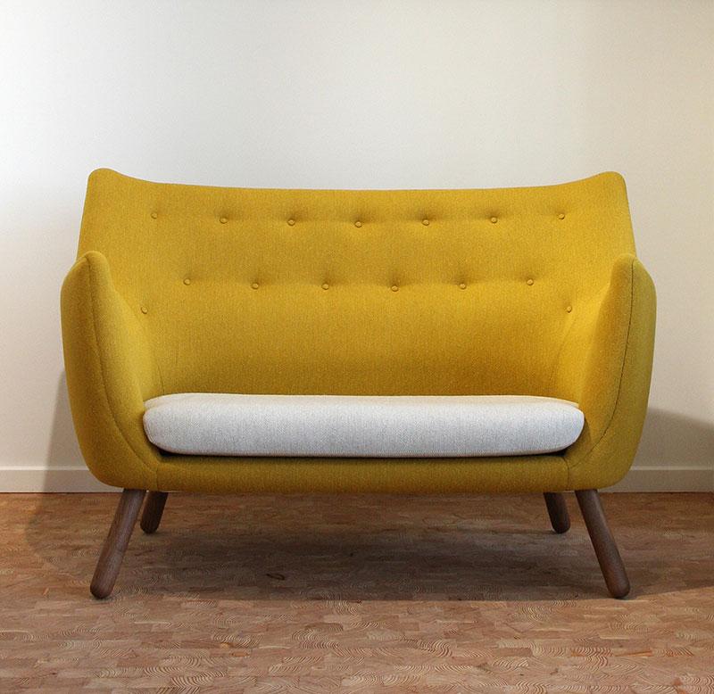 fauteuil jaune 2 places en tissu
