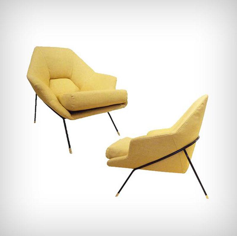 fauteuil jaune en tissu avec structure en fer