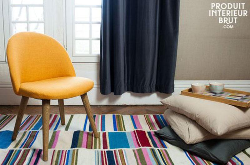 fauteuil jaune en tissu fait main