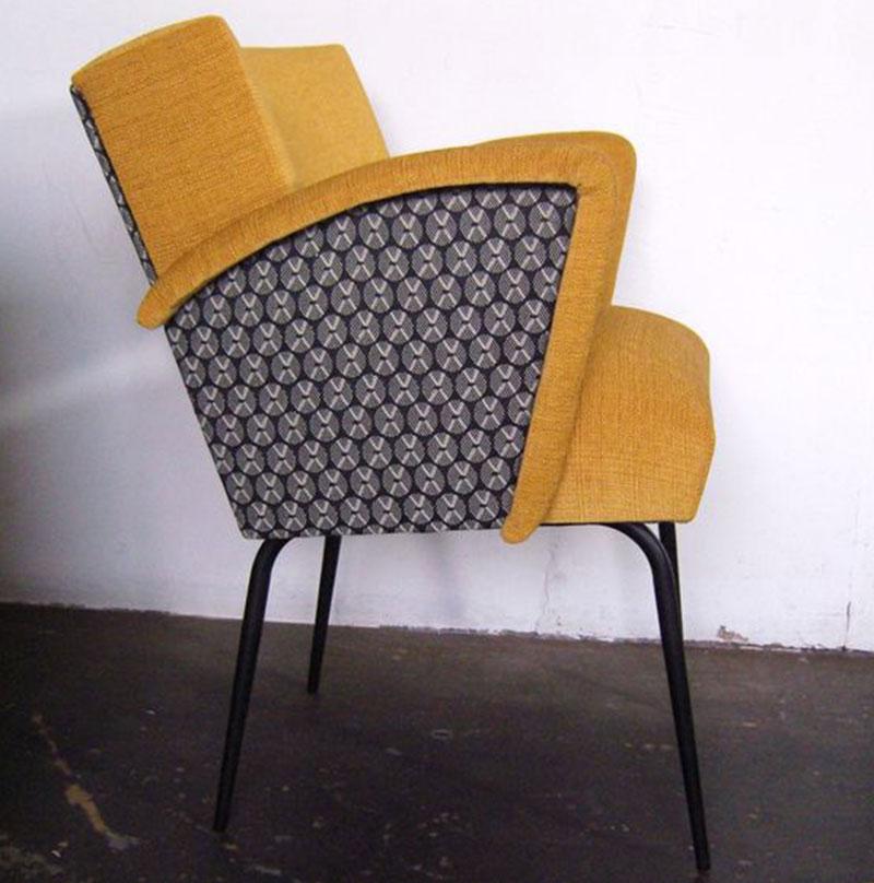 fauteuil jaune fait main par funkyshop