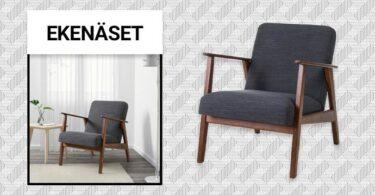 fauteuil vintage EKENASET en tissu gris chiné de IKEA