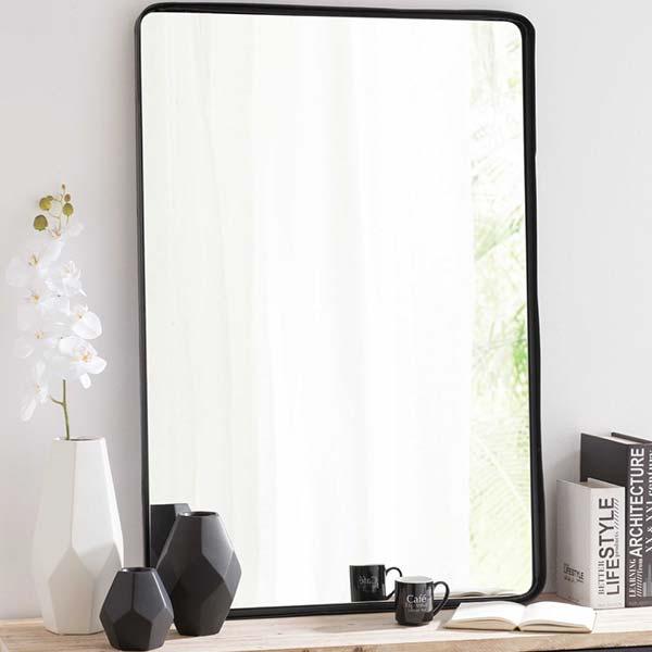 Miroir en metal noir vintage industriel