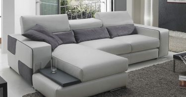 canapé d'angle reversible gris avec meridinne