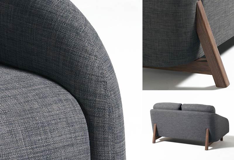 canapé cover en détail structure bois
