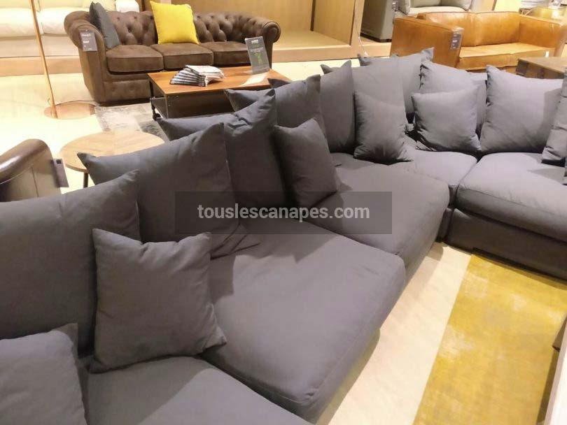 Canapé LOFT taupe d'angle et modulable de Maisons du Monde