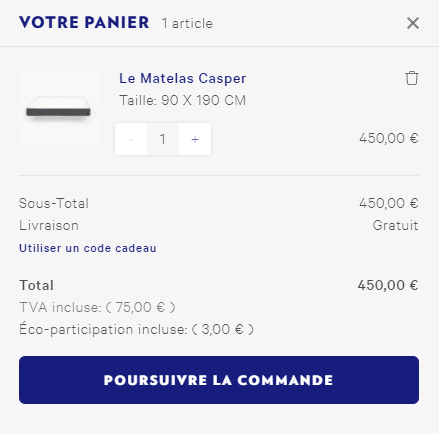 Prix matelas 90 x 190 cm Casper