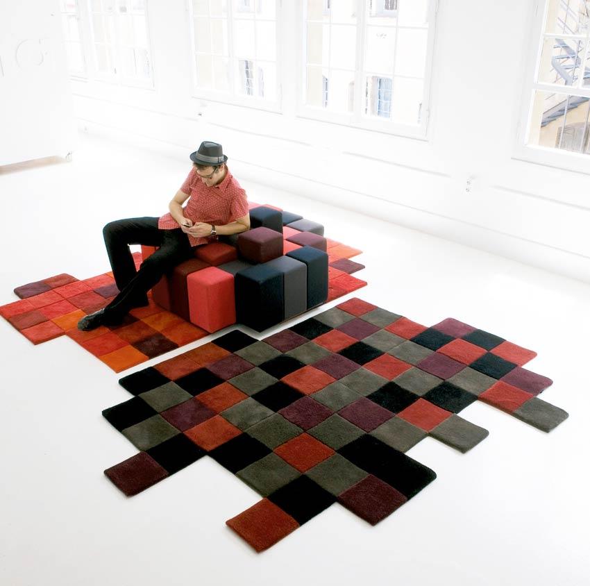 Canapé et tapis rouge gris noir Do-Lo-Rez