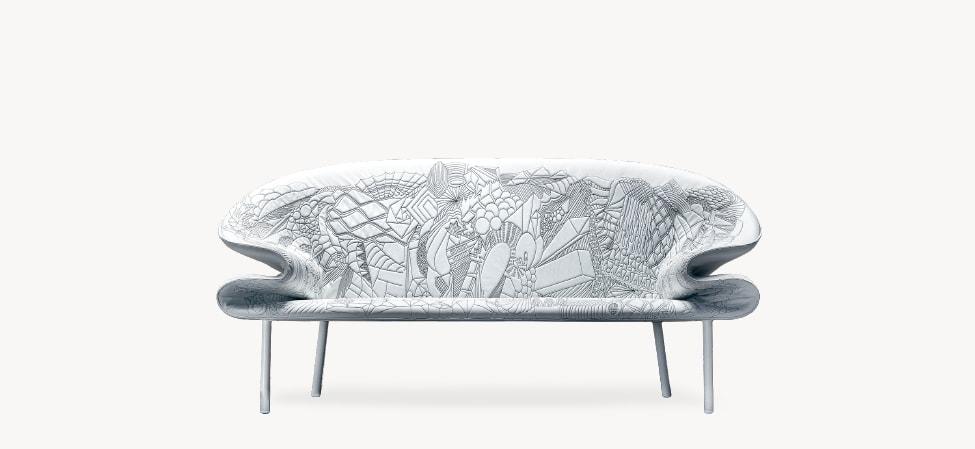 Canapé Doodle gris et blanc de Moroso