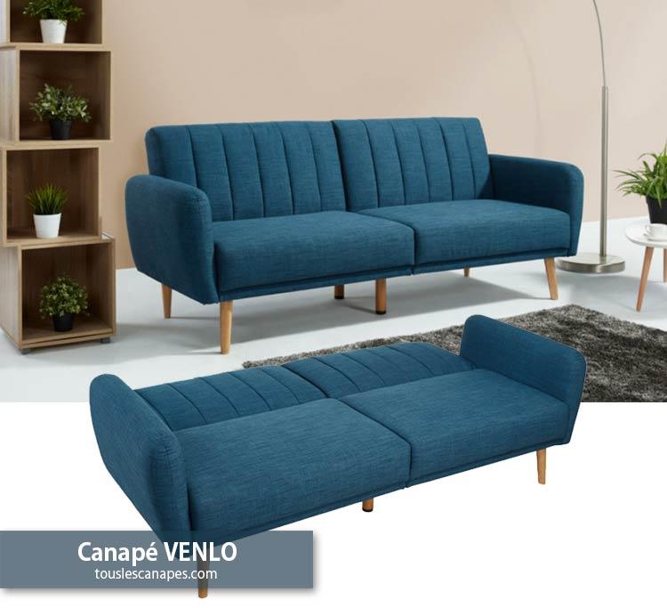 Avis canapé banquette VENLO en tissu bleu chiné