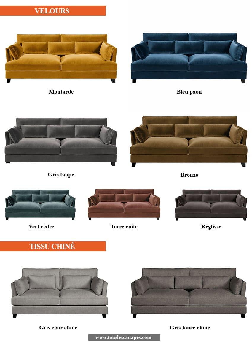 Revêtements et coloris du canapé SACHA de AMPM