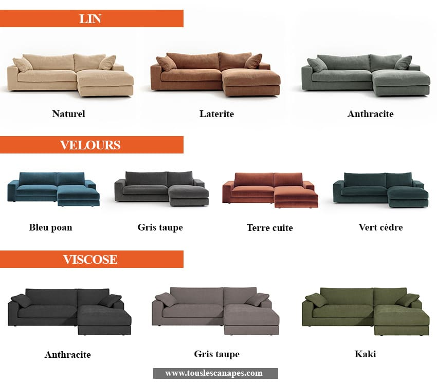 Revêtements et coloris du canapé d'angle SKANDER de AMPM