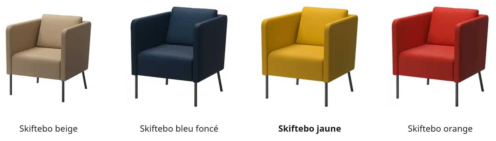 Déclinaisons du fauteuil Ekero de style scandinave