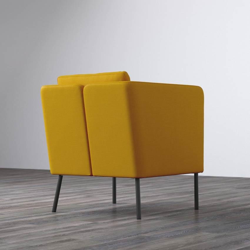 Fauteuil scandinave Ekero couleur jaune et vue de dos