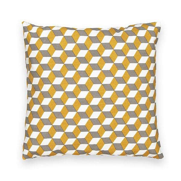 Housse de coussin DECIO 40x40 jaune gris - Touslescanapes.com