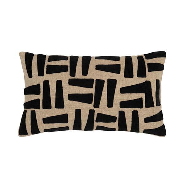 Coussin 50x30 MUINGA coton motifs noirs - Touslescanapes.com