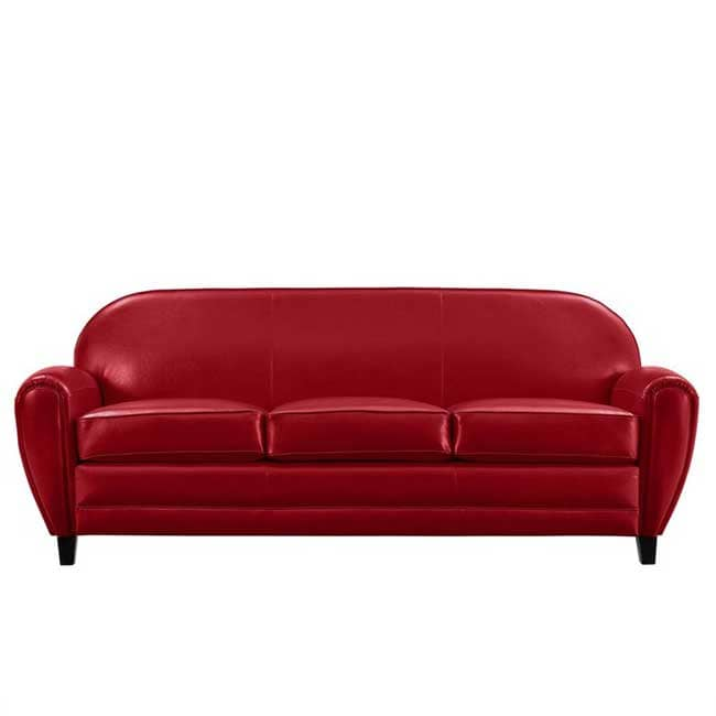 Canapé club cuir rouge - Touslescanapes.com