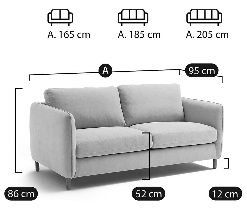 Canapé Lomeo dimensions - Touslescanapes.com