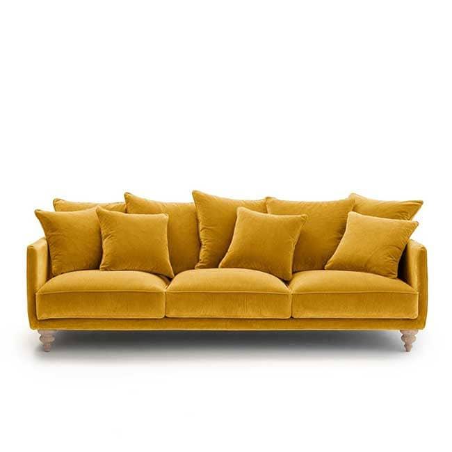 Canapé velours jaune Lazare - Touslescanapes.com