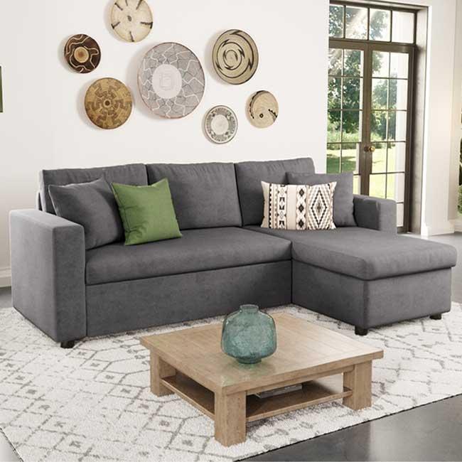 Canapé d'angle gris Maria - Touslescanapes.com