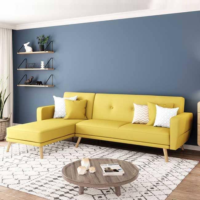 Canapé d'angle jaune moutarde Kara - Touslescanapes.com